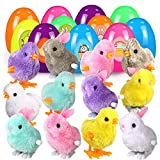 FunsLane 12Pcs Filled Easter Eggs, Easter Toys Wind-Up Rabbits and Chicks, 3.9'' Colourful Easter Eggs with Clockwork Jumping Chicken Bunnies + 2 Sheet Easter Stickers for Kids Party Favors Gift